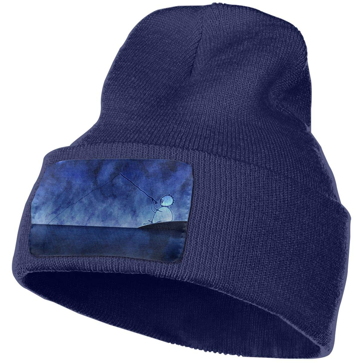 JimHappy Fishing Hat for Men and Women Winter Warm Hats Knit Slouchy Thick Skull Cap Black