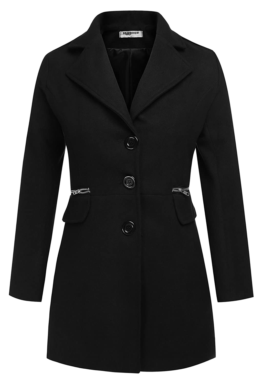 ZEARO Damen Wolljacke Wollmantel Langarmshirt Trenchcoat Mantel Long Jacket Outwear mit Taschen