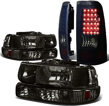 BLACK AMBER BUMPER HEADLIGHT+CLEAR LENS LED BAR TAIL LIGHT FOR 99-02 SILVERADO