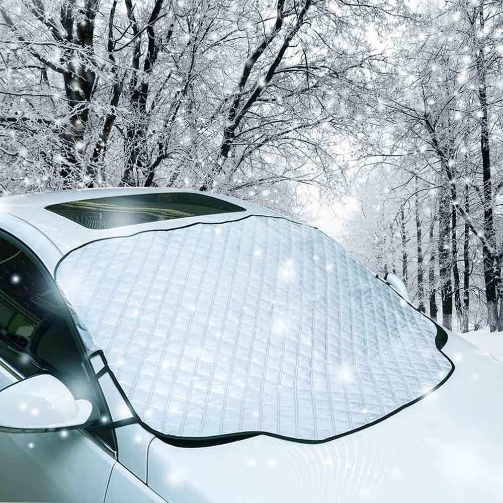 Yanx Funda para parabrisas de coche, impermeable, protecció n magné tica contra el polvo y la nieve, gran parasol para todo tipo de clima, con dos solapas antirrobo, color plateado protección magnética contra el polvo y la nieve