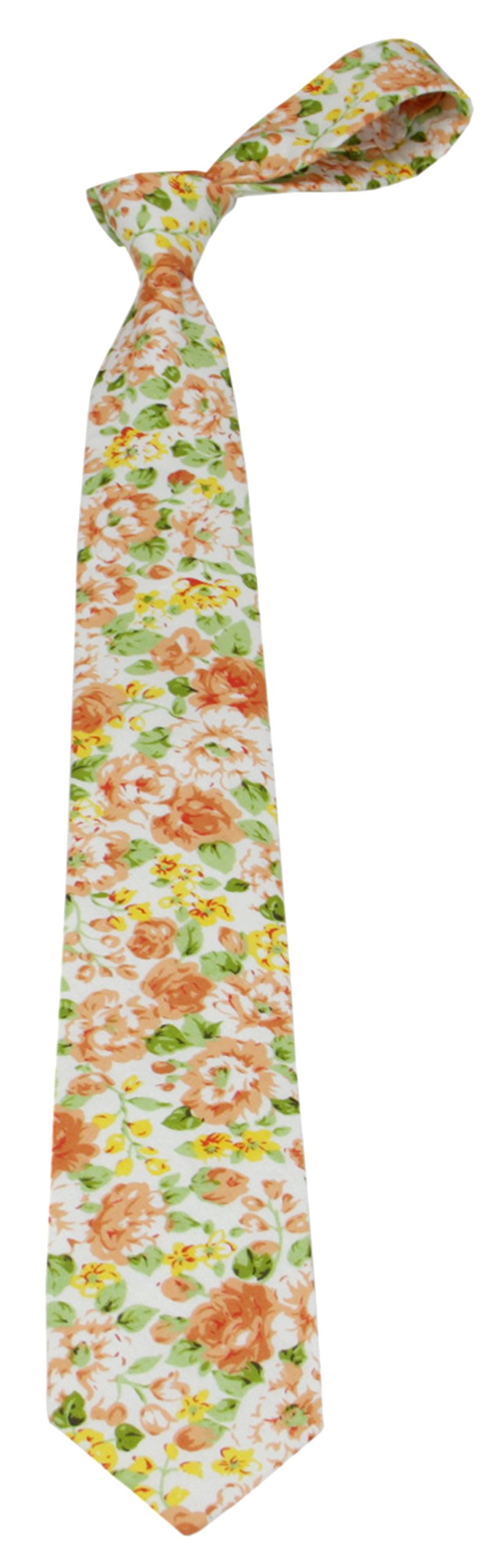Mens Charm 100% Cotton Floral Print Tie - Various Colors (Salmon with Coral and Lime Green)