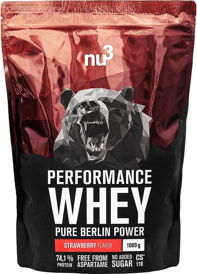 nu3 Performance Whey Protein - 1 kg de suero en polvo sabor fresa con 74.1% de proteína - Con aminoácidos BCAAs + proteína aislada isolate - Batido ...