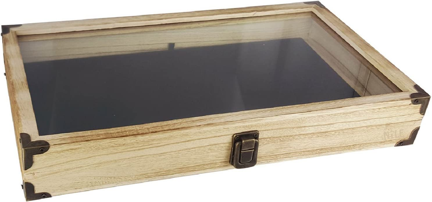 Mooca Wood Glass Top Jewelry Display Case Wooden Jewelry Tray for Collectibles, Home Organization Accessories Storage Box with Metal Clasp, Black Velvet Pad and Corner Protection, Oak