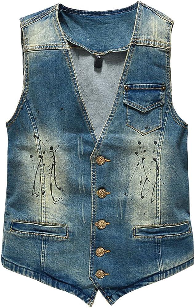 ZongSen Mens Slim Fit Denim Vest Retro Stain Cowboy Waistcoat Sleeveless Ripped Jeans Jacket Gilet