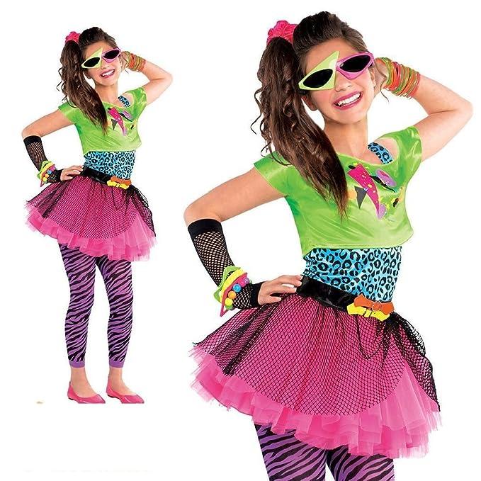 Fun Daisy Costume Teenager niña 1980s años total Toll Disfraz Neon Party Outfit Tutu Disfraz