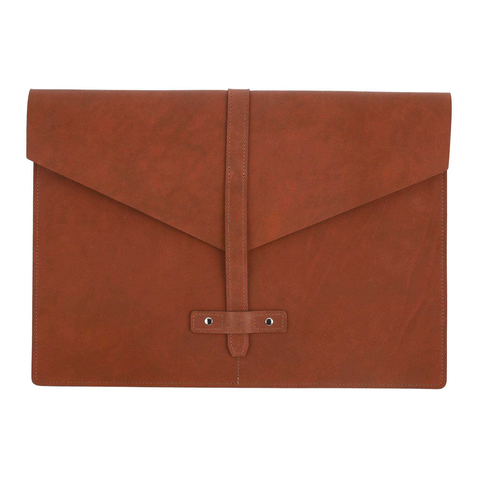 SLATE COLLECTION Belltown Small Laptop Sleeve, Full-Grain Leather (Cognac, fits 13'' Laptop)