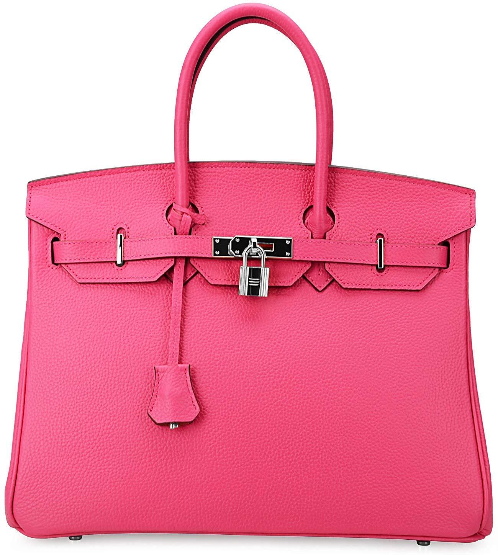 Women's Handbags Ladies Genuine Leather Handle Shoulder Handbags Strap Organizer Crossbody Handbags with Gold Hardware