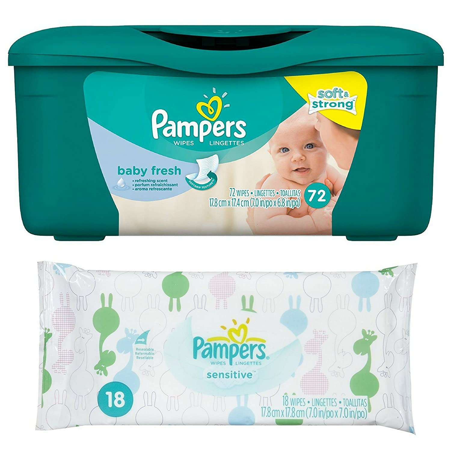 Amazon.com: Pampers Baby Fresh Wipes Tub, 72 ct + Additional Sensitive Wipes Travel Pack 18 ct: Health & Personal Care