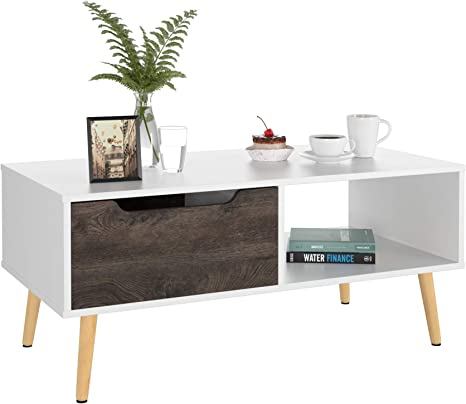 Amazon Com Homfa Coffee Tables For Living Room Tv Stand Wooden Console Table Sofa Side Table 2 Tier With Storage Shelf And 1 Drawer Modern Furniture For Home Office White Kitchen Dining