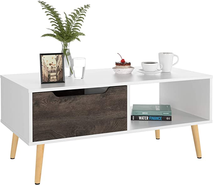 Homfa Coffee Table Industrial Side Table End Table Cocktail Table Centre Table for Living Room with Metal Legs 110x56x46cm