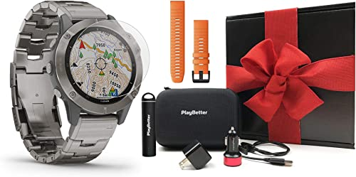Garmin Fenix 6 Sapphire Titanium with Titanium Band Gift Box Bundle HD Screen Protectors, Extra Band, PlayBetter Portable Charger, Adapters Hard Case Multisport Fitness Watch