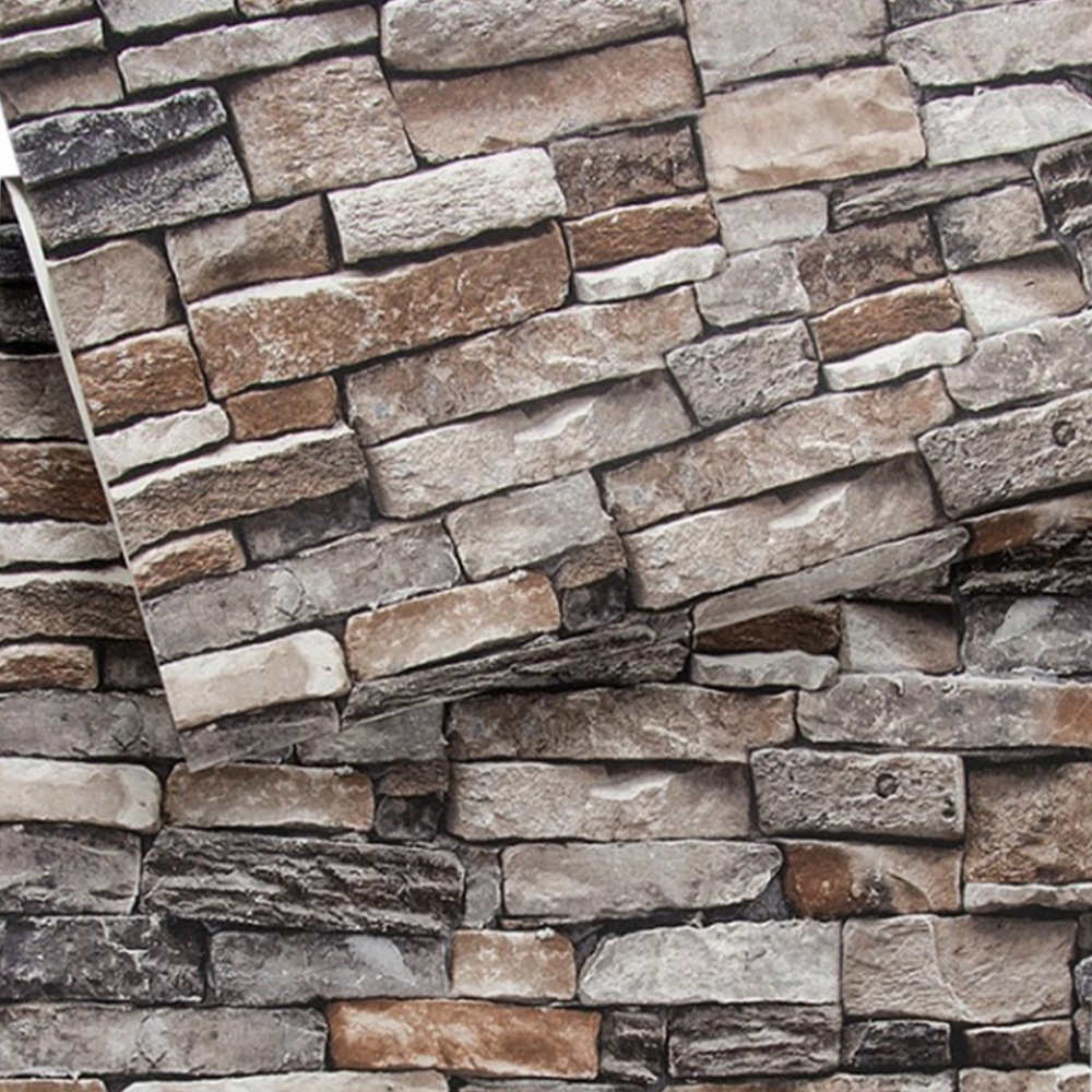 Brick Wallpaper, 3D Stone Textured, Removable and Waterproof for Home Design,Livingroom, Bedroom, Kitchen and Bathroom Decoration 20.8In x 32.8Ft, Gray/Brown/Black by Vopie (Image #1)