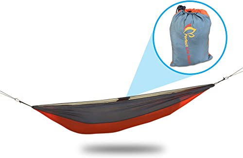 Ultralight Compact Hammock for Camping. Extra Strong Parachute Fabric, Carabiners Attachment Rope Included. Fast Set Up and Pack Down. Perfect for Backpacking, Hiking, Beach, Yard, Travel, Relaxing