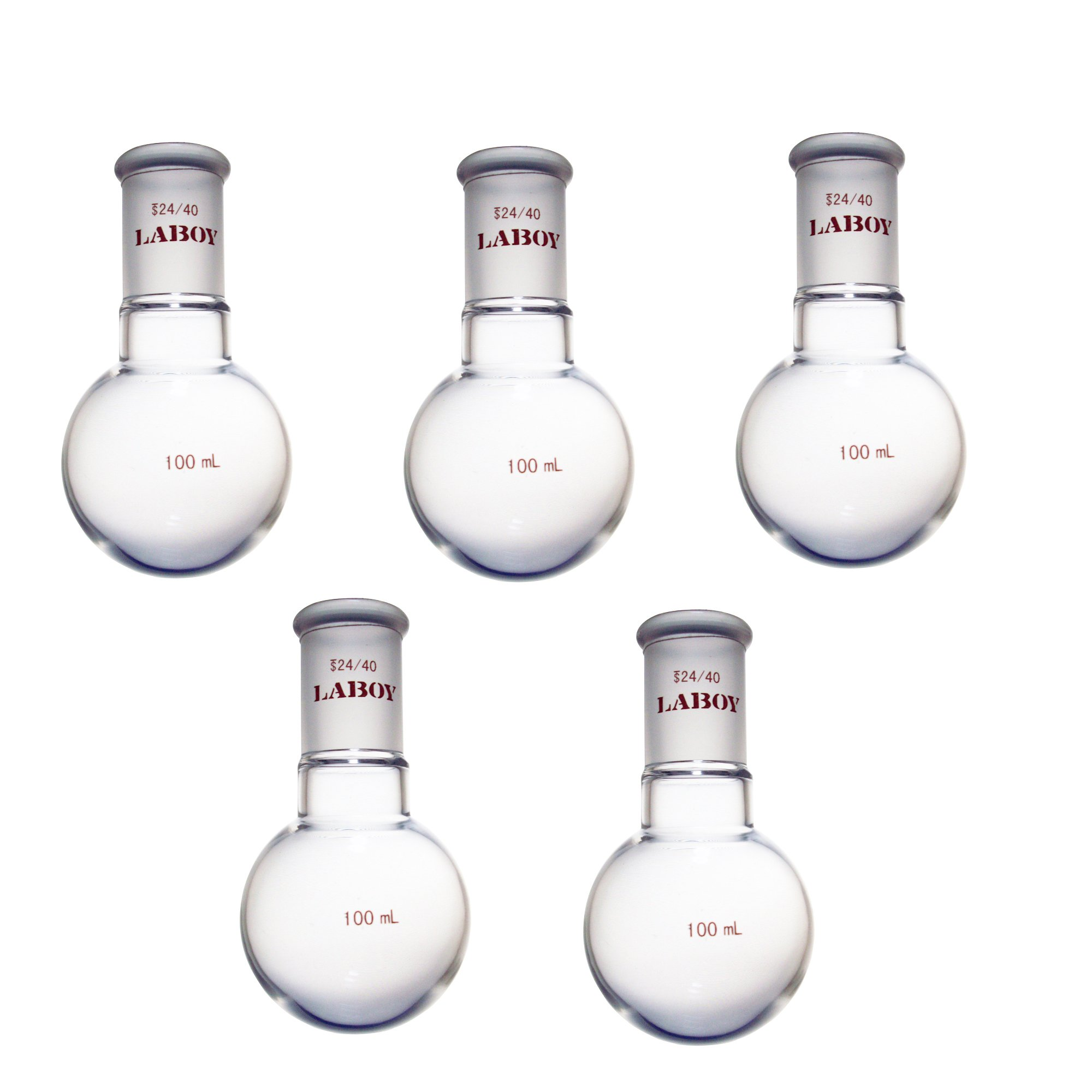 Laboy HMF010312L Glass Single Neck Round Bottom Boiling Flask 100 mL with 24/40 Joint (Pack of 5)
