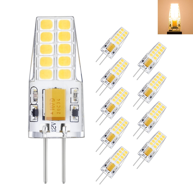 Rayhoo 10pcs G4 base LED Light Bulb 12V, 3 Watt AC DC 10-20V, Non-dimmable, Equivalent to 30W T3 Halogen Track Bulb Replacement LED Bulbs, Warm White 3000K