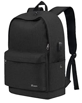 MANCRO School Backpack, Slim College Laptop Bag with USB Charging Port,  Casual Unisex Travel 94750e3742