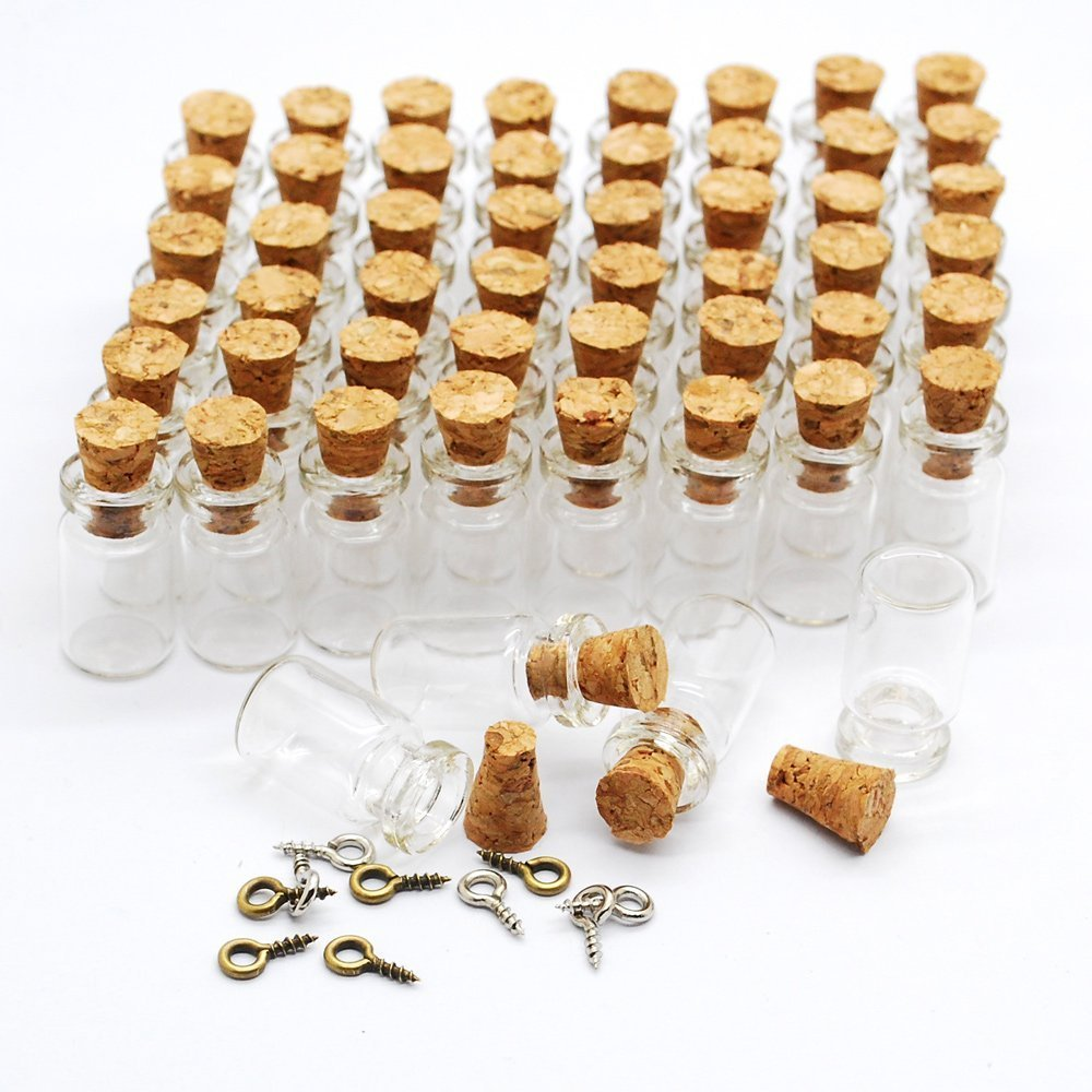Amazon.com: Eforstore 50pcs 0.5ml Vials Clear Glass Bottles with ...