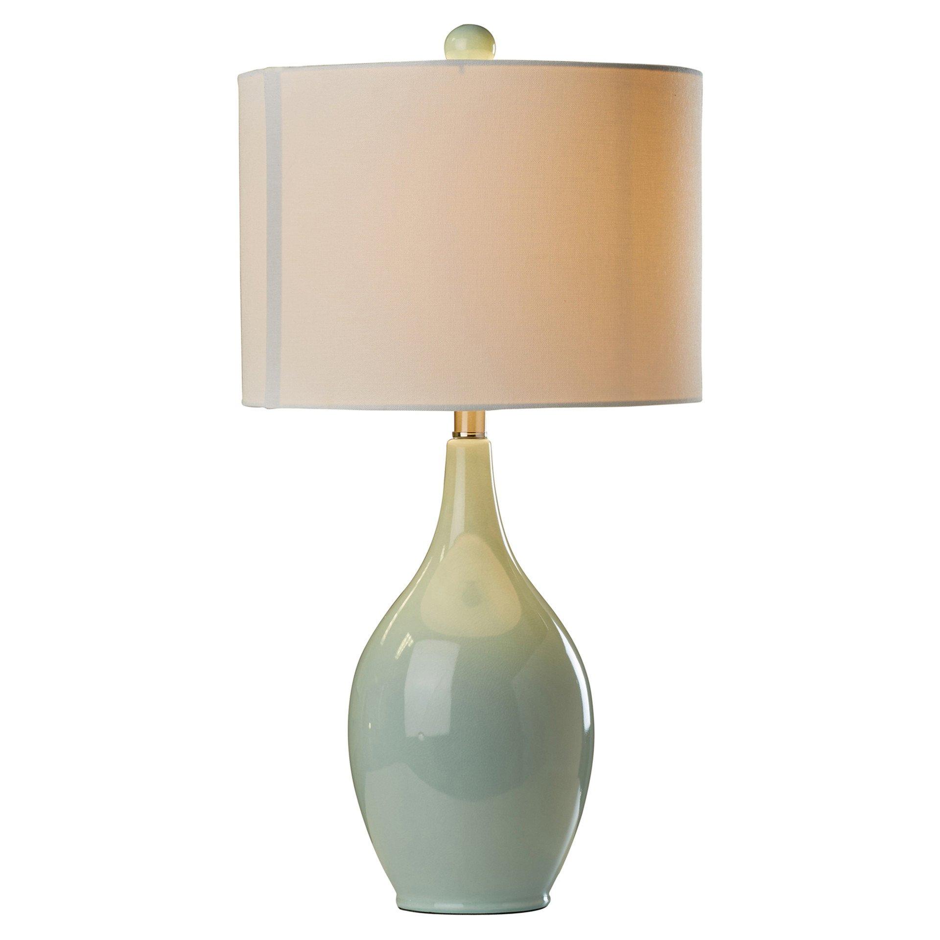27'' Incandescent Light Bedside Ceramic Table Lamp in Spa Blue