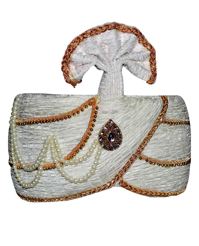 INMONARCH Mens Wedding Turban pagari safa hat TU2009 22H-inch Cream
