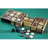 Replica Royal Game of Ur - Solid Wood Board with Eye-Catching Design, Wooden Pieces and Pyramid Dice