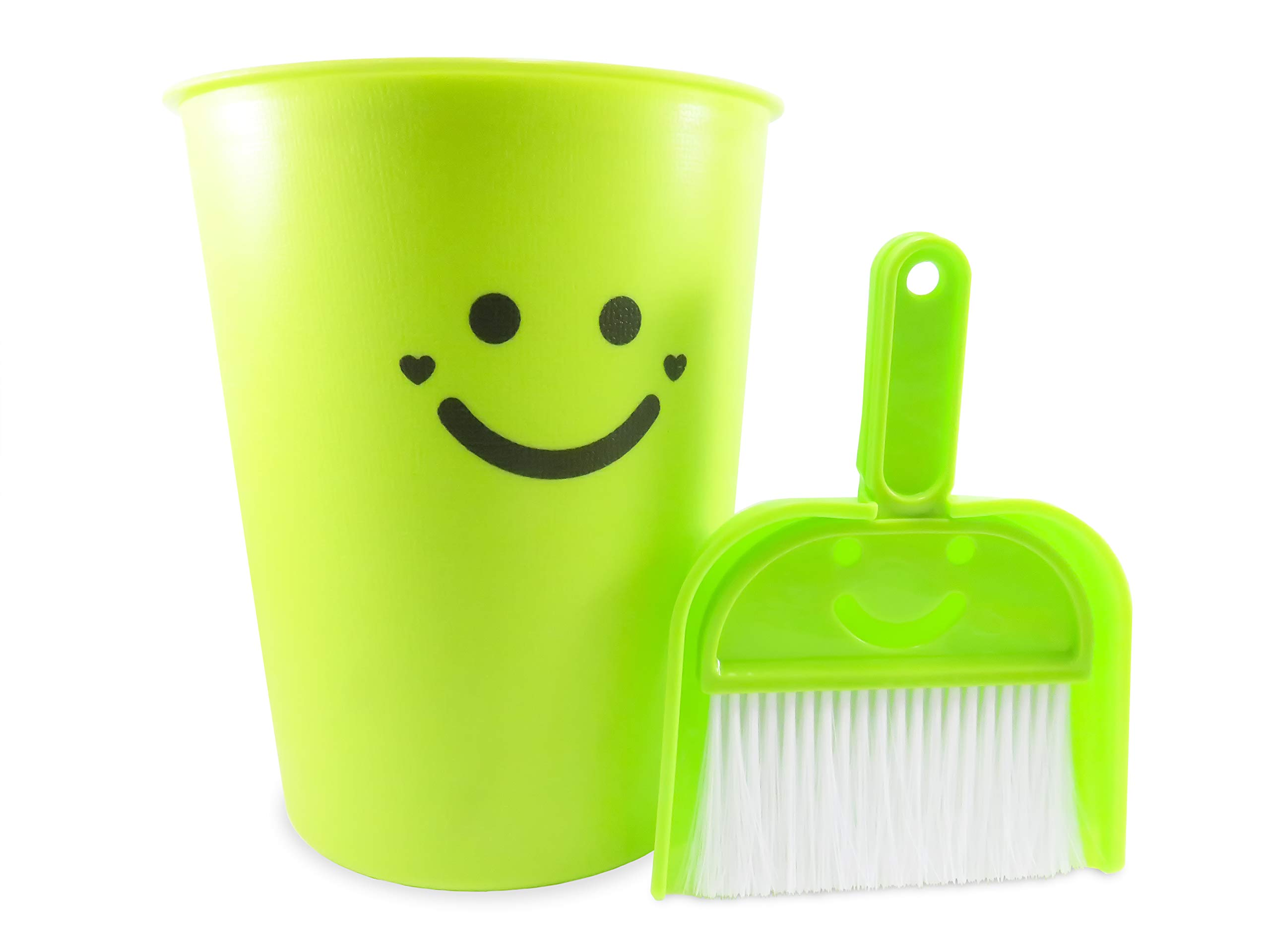 Neon Green Wastebasket Plastic with Dustpan and Brush 1.5 Gallon 9.75 Inches Tall - The Happiest Wastebasket and Dustpan on Earth (3 Piece Set)