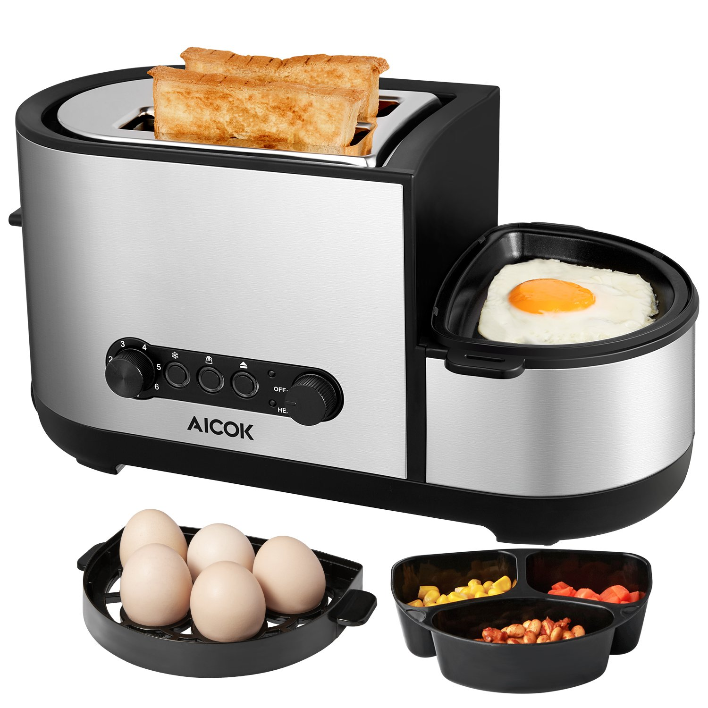 Aicok Tostadora y Cocedora de Huevos  de Tostadora Tostadora Rebanadas con