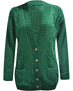 e1b5117310 kfs collection Ladies Long Sleeve Button Up Chunky Cabel Knitted Grandad  Cardigan