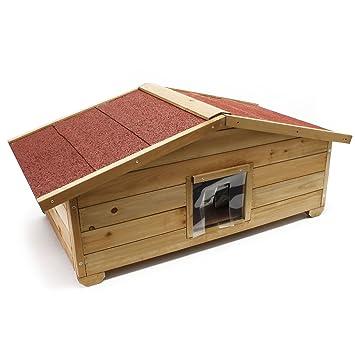 Caseta grande para gatos casa hogar impermeable aislado exterior para jardín: Amazon.es: Productos para mascotas