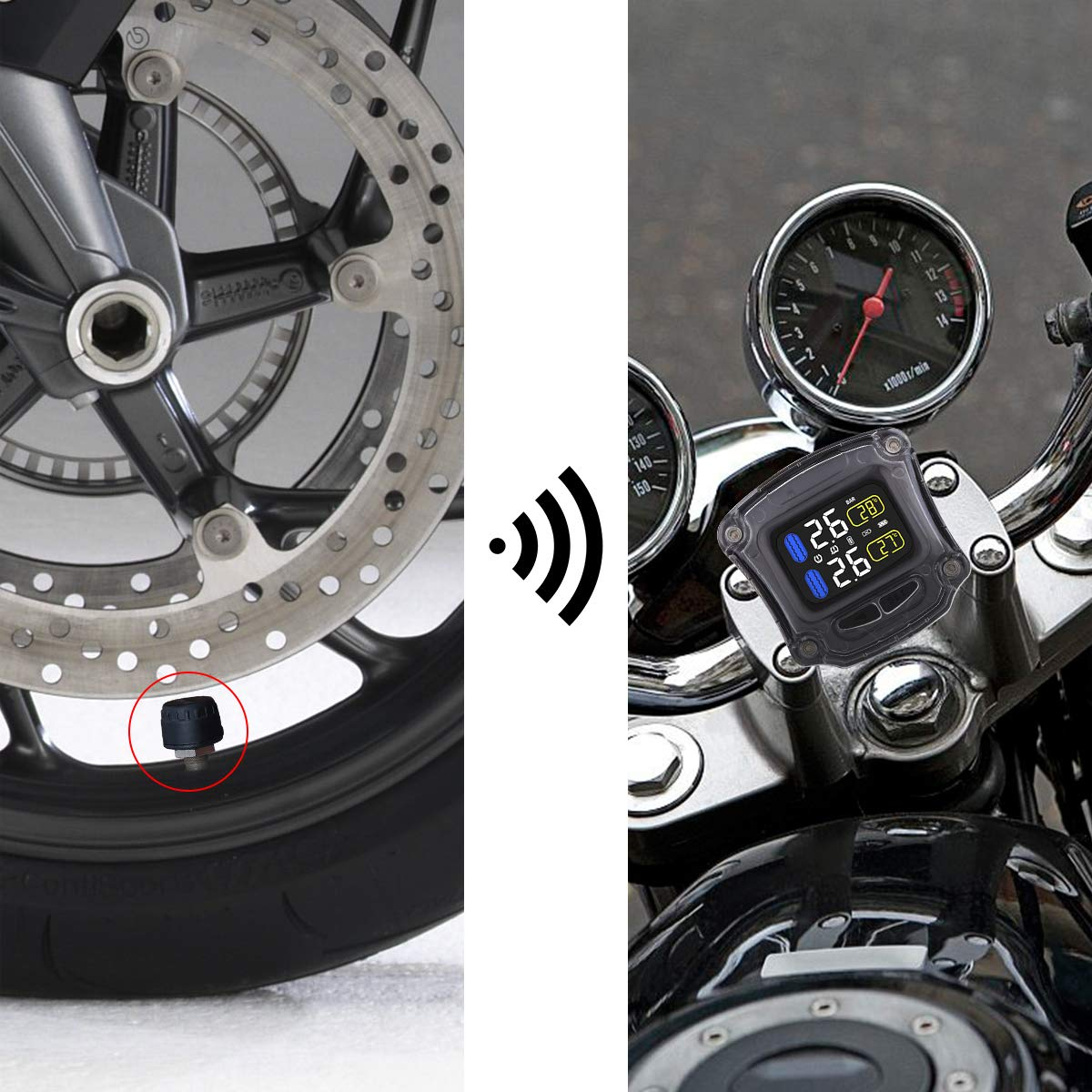 Autmor Syst/ème de Surveillance de Pression des Pneus TPMS Jauge de Pression des Pneus de Poto Avec Capteur 2 M3-B pour Moto Sup/érieur avec l/'Affichage /à LCD pour des Motos