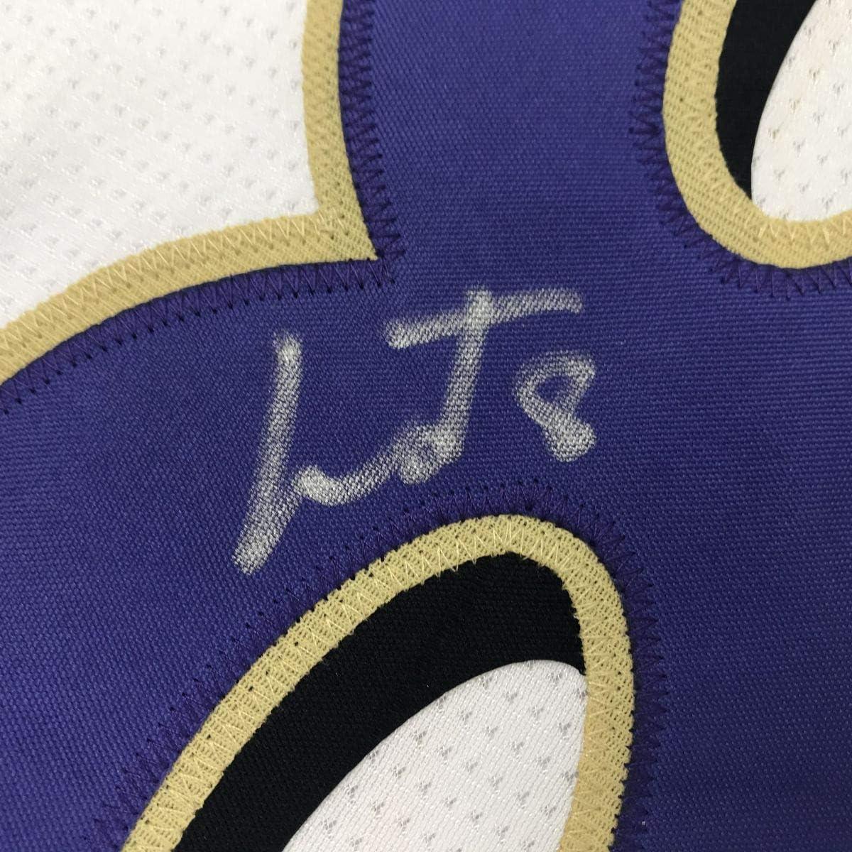 Autographed//Signed Lamar Jackson Baltimore White Football Jersey JSA COA