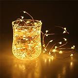 Guirlandes de LED, APICI 5M 50 LED Chaîne de fil de cuivre Lumière extérieure Coude de lumière Décoration de Noël blanc chaud à piles pour fête, mariage, arbre de Noël, salle, fête, Festival