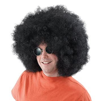 NEW MASSIVE BLACK AFRO WIG RETRO 70S FANCY DRESS (peluca)