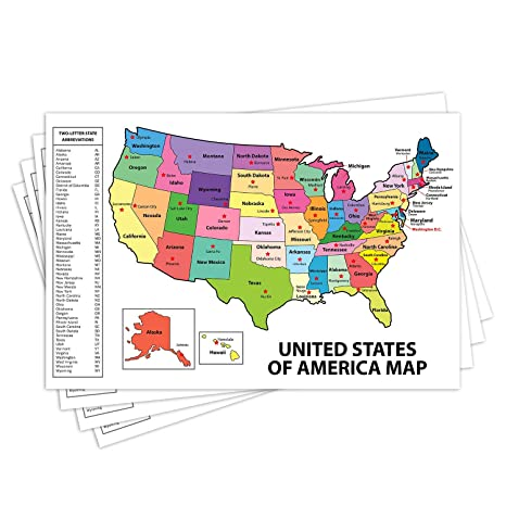 United States Map - USA Poster, US Educational Map - with State Capital -  for Ages Kids to Adults- Home School Office - Printed on 12pt. Glossy Card  ...