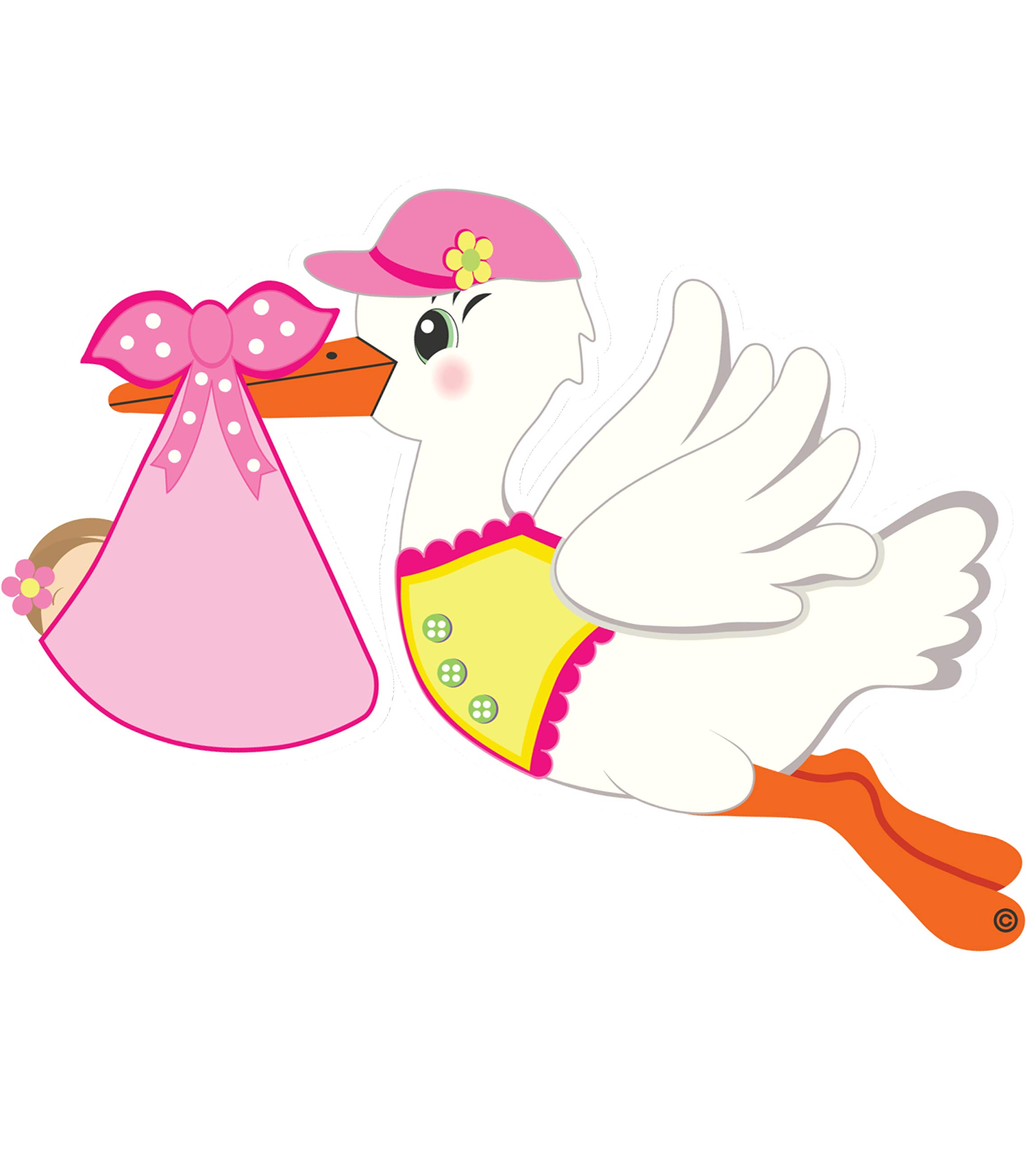 It's a Girl Stork Baby Door Sign Hanger - Welcome Home Newborn Announcement - Pink Shower Party Decoration - Special Delivery Hospital Wreath - Expecting Gift