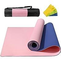 NAFFIC Esterilla Yoga,Alfombrilla de Yoga Texturizada Antideslizante 3*Banda de Resistencia,1* Correa de Transporte para…