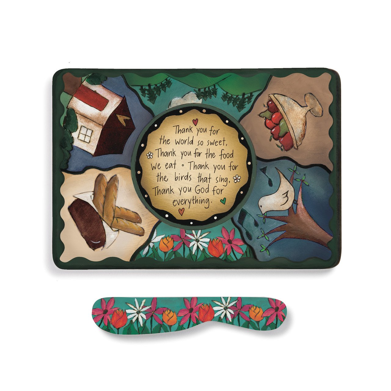Table Prayer Multicolored 9 x 7 Melamine Cheese Plate With Spreader Set Demdaco 1004040032