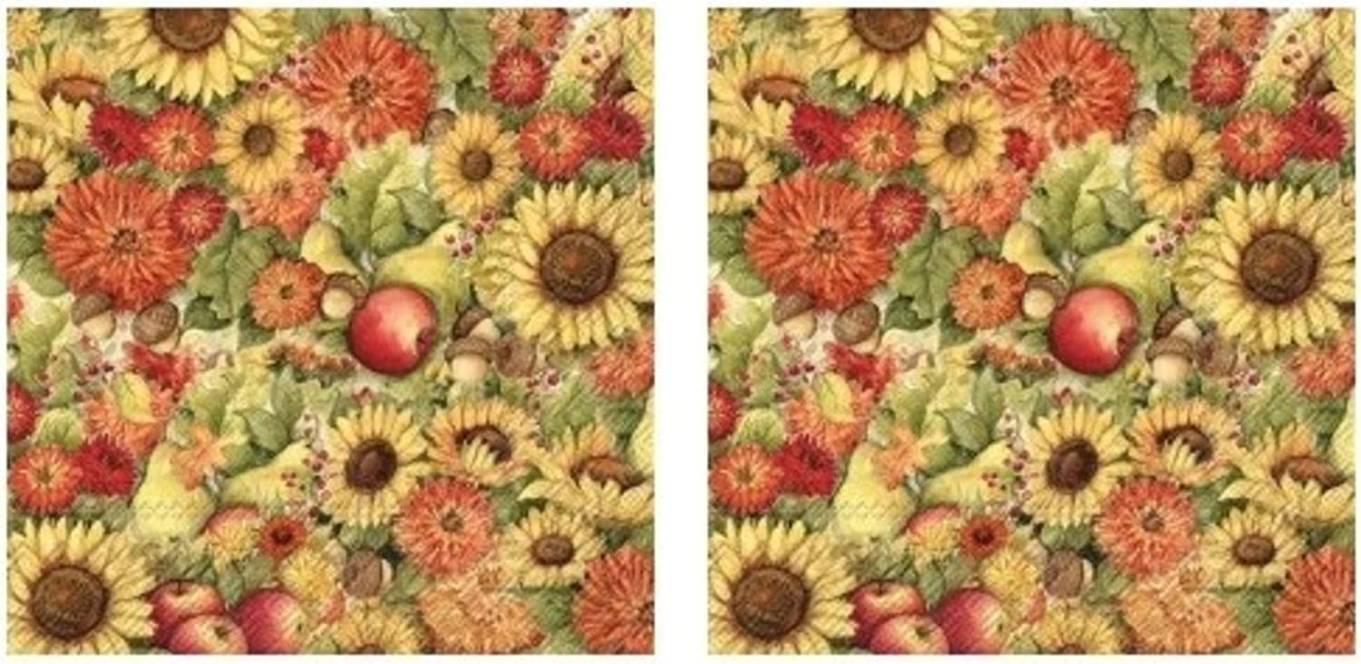 Flowers and Fruit Pumpkins & Apples Harvest 3-Ply Paper Cocktail Napkins 40-Count, Fall Autumn Decor Barware Beverage Serviettes