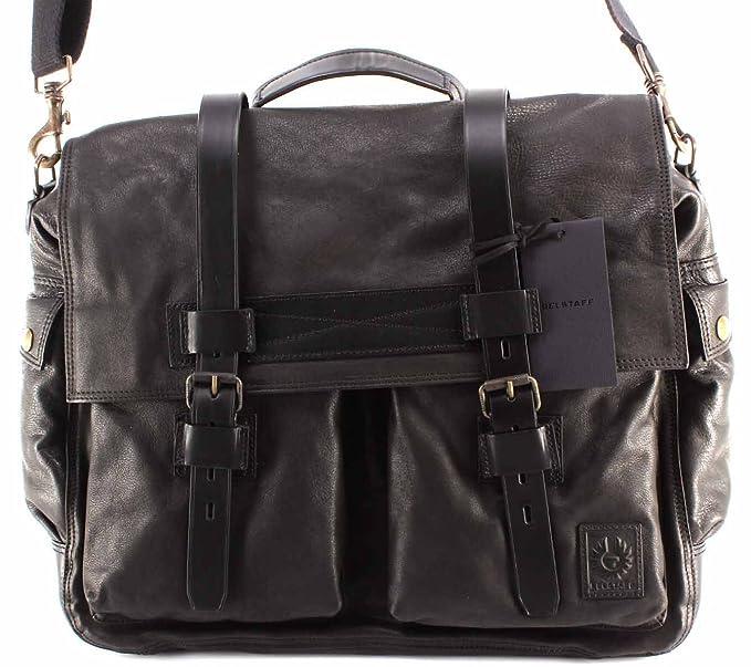2ab452aa58 Men's Shoulder Bag BELSTAFF 75610375 Colonial Messenger Bag Man Black  Leather: Amazon.co.uk: Clothing