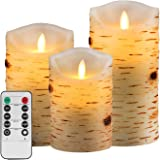 "Eloer Flameless Candles Flickering Flameless Candles Set Decorative Flameless Candles Classic Real Wax Pillar With Moving LED Flame And 10-key Remote Control Hours Timer (Ivory 5"" 6"" 7"")"