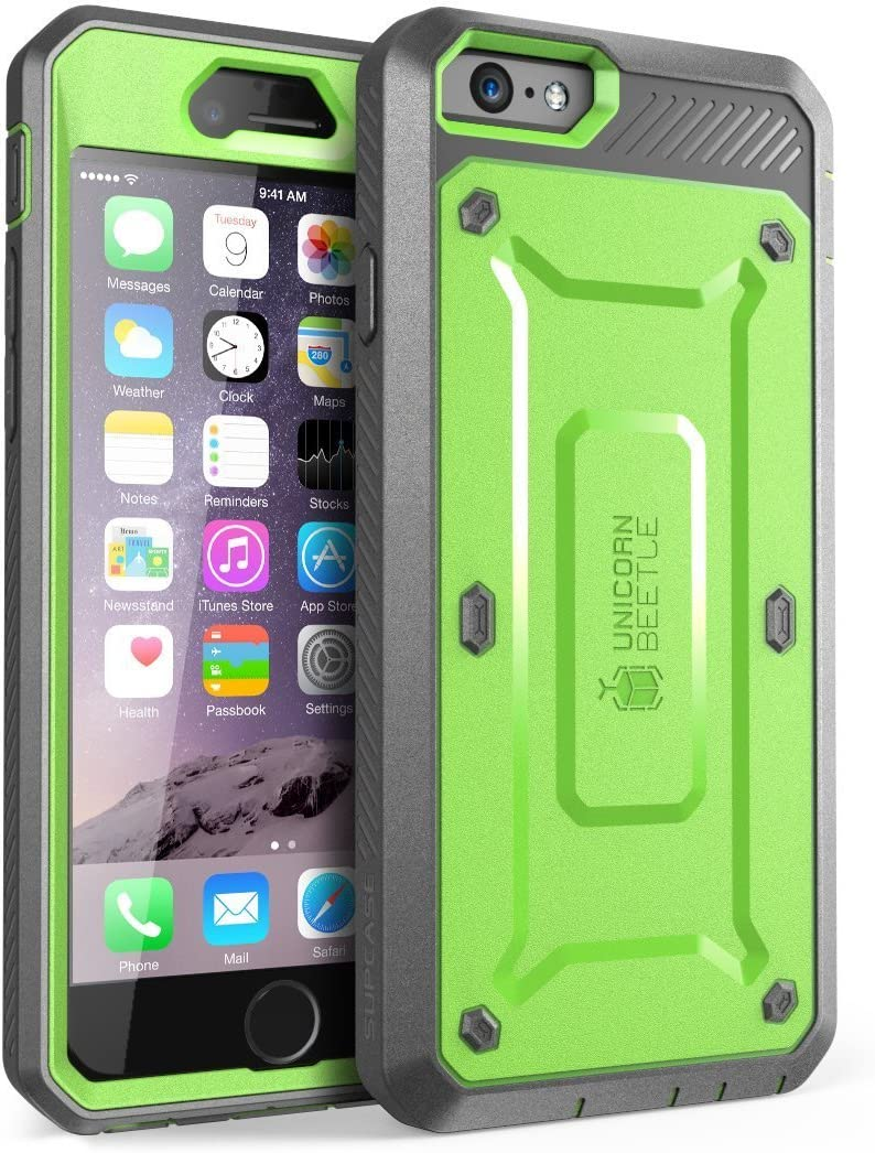 SUPCASE [Unicorn Beetle Pro] Case Designed for iPhone 6S, with Built-In Screen Protector Rugged Holster Cover for Apple IPhone 6 Case / 6S 4.7 Inch display (Green/Gray)