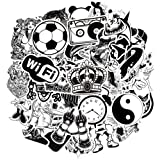Waterproof Vinyl Laptop Stickers for Skateboard Car Decals (50Pcs Black and White Style)