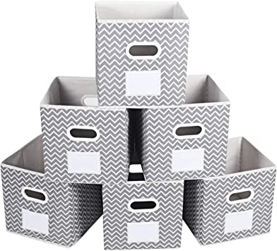 MAX Houser Fabric Cloth Storage Bins,Foldable Storage Cubes Organizer  Baskets with Dual Handles for Home Bedroom Storage,Grey Chevron,Set of 6
