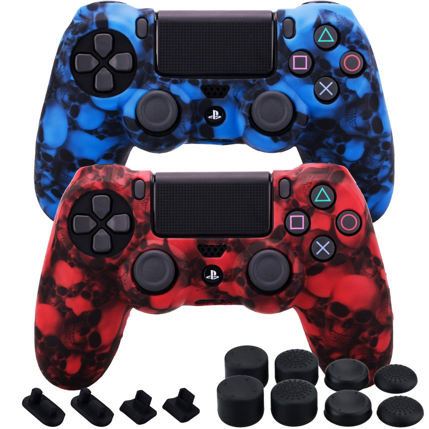 MXRC Silicone Rubber Cover Skin case Anti-Slip Water Transfer Customize Camouflage for PS4/SLIM/PRO Controller x 2 (Skull Red + Blue) + FPS PRO Extra Height Thumb Grips x 8 + Dustproof Plug x 4