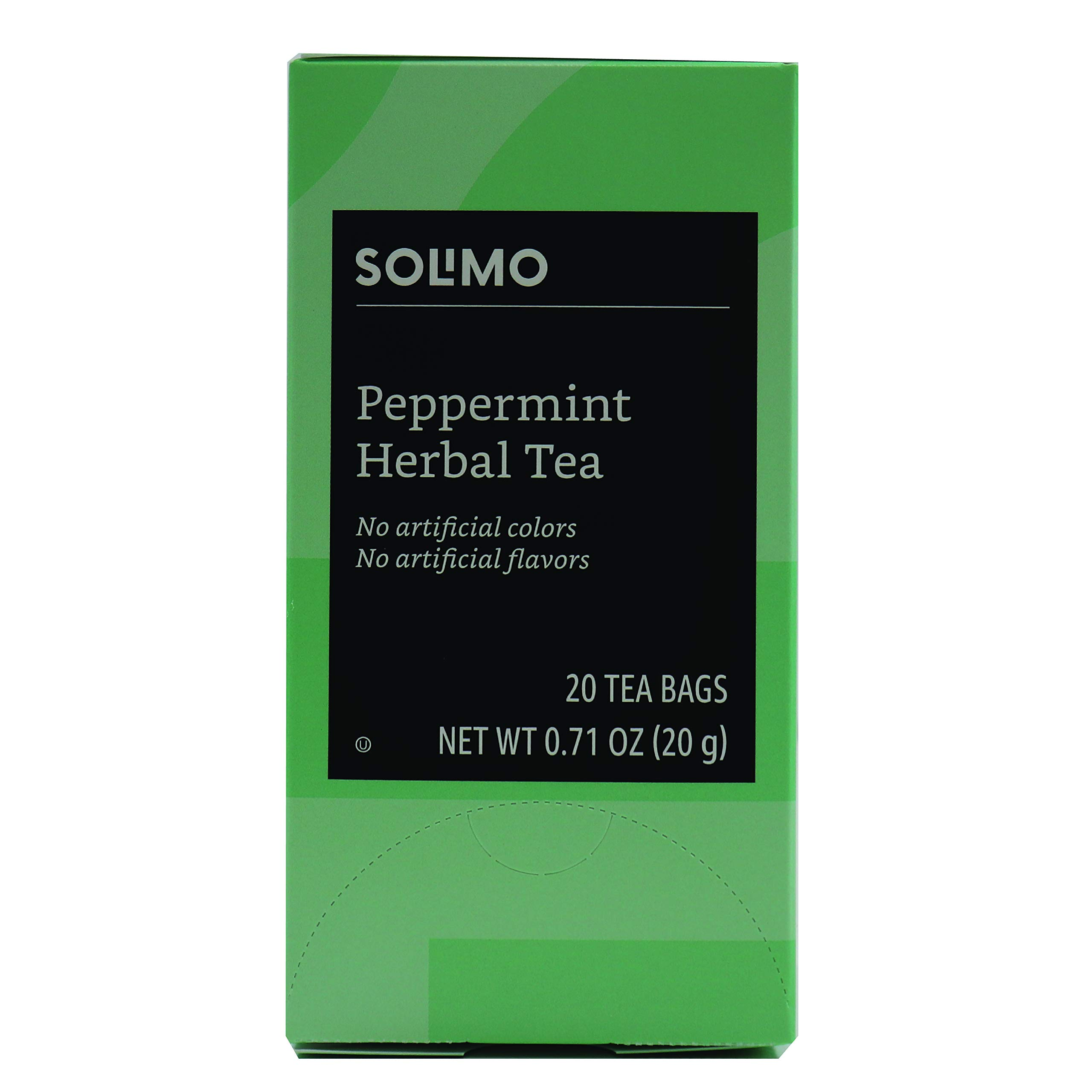 Amazon Brand - Solimo Peppermint Herbal Bags, 20 Count