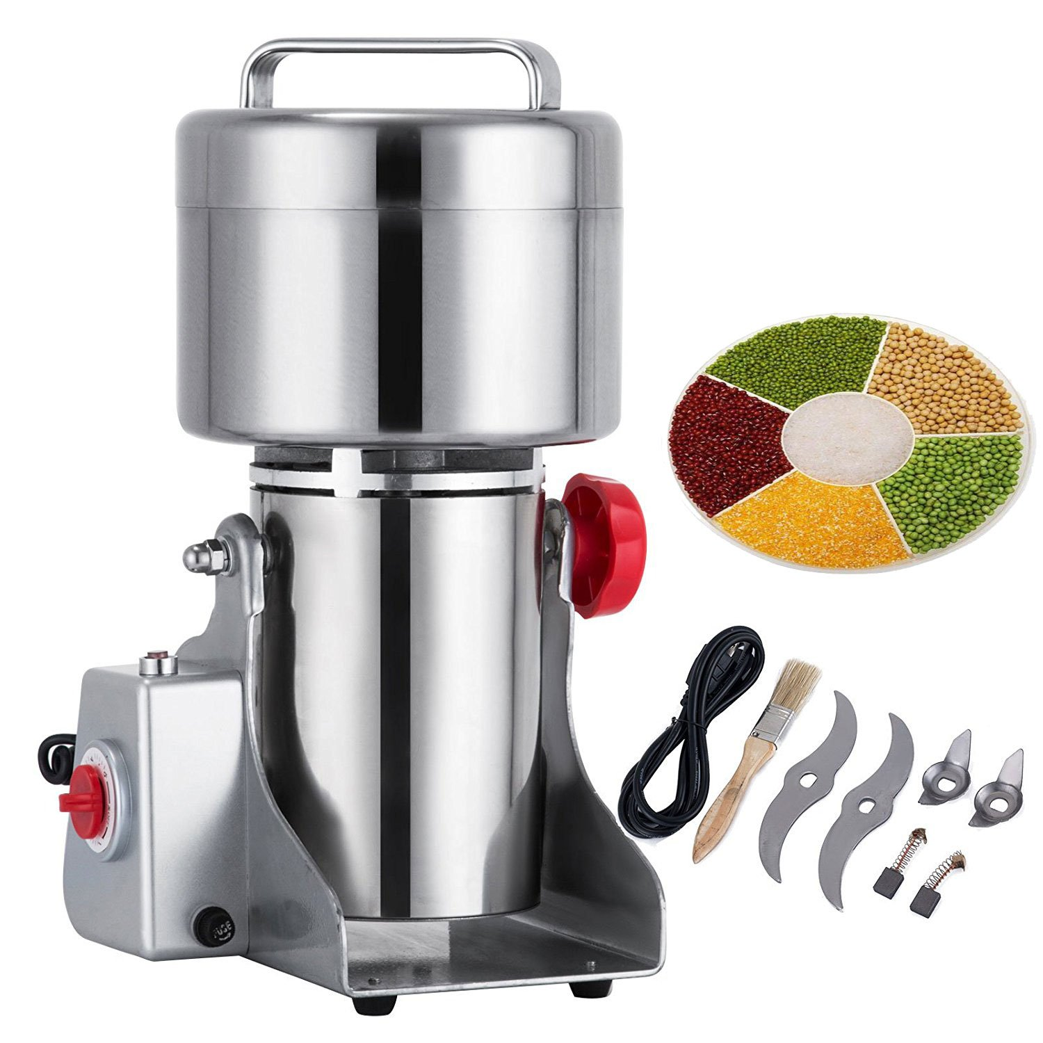 Happybuy Grain Grinder 500g Mill Powder Machine Swing Type Commercial Electric Grain Mill Grinder for Herb Pulverizer Food Grade Stainless Steel (500g)