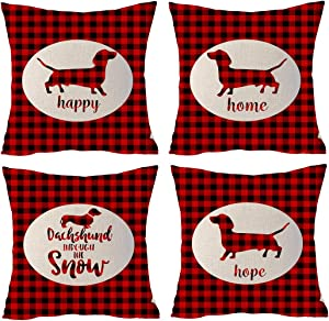 Set of 4 Merry Christmas Animal Dog Happy Home Hope Dachshund Snow Red Pliad Cotton Linen Throw Pillowcase Couch Pillow Cover Square 18x18 inch Decorative Pillow for Family Birthday