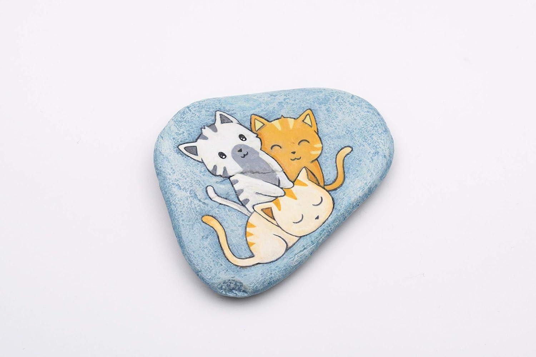 /à Accrocher Chats Amoureux Chats Peints D/écoration murale Pierre Peinte /à la Main