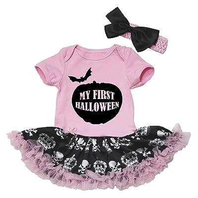 Petitebella My First Halloween Pink Bodysuit Skulls Crown Black Baby Tutu Nb-18m