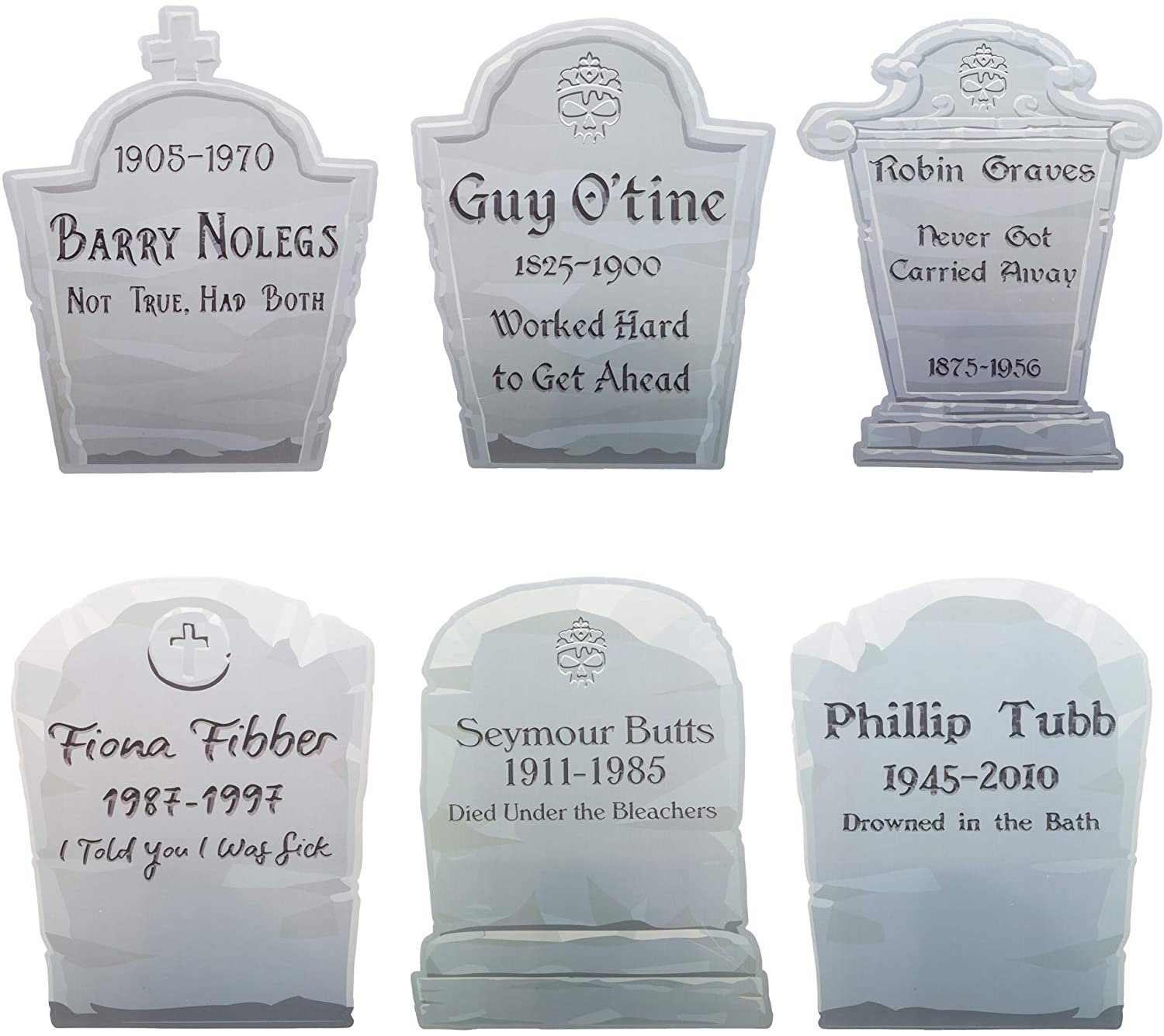 Tombstone Walkway Yard Signs Halloween Decorations - 6 Funny Gravestones with Stakes - Outdoor Holiday Decor, Haunted House Set Up, Graveyard Theme Set, Theater Play Props for Lawn, Garden & Backyard
