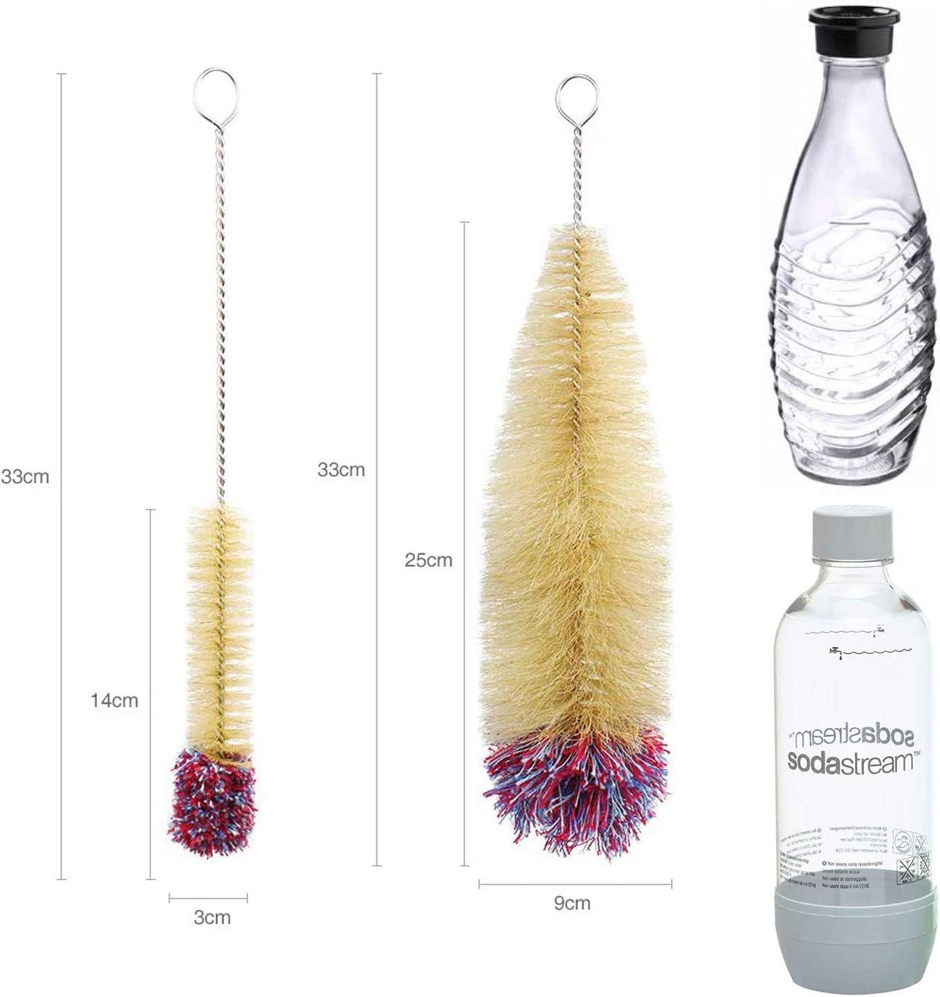 Grunda 2er Set Flaschenb/ürste Reinigungsb/ürste Kompatibel mit Sodastream Flaschen mit Wollkopf f/ür Glasflaschen Pet-Flashe Sprudlerflaschen Babyflaschen